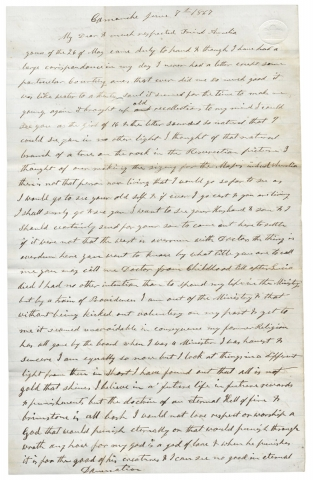 1867 Autograph Letter Signed by a Virginia-native and Iowa Minister Renouncing his Baptist Faith. E T. Manning, ca. 1809–?