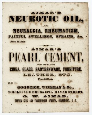 Aimar's Neurotic Oil, for Neuralgia, Rheumatism, Painful Swellings, Sprains, &c. Price, 25...