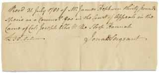 [1781 Autograph Document Signed of Jonathan Dickinson Sergeant, as Lawyer in Private Practice].