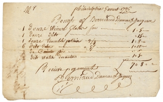 1795 Philadelphia Manuscript Bill of Sale from Berniaud Dumas, & Jacques, French China and Glass...