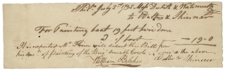 1793 Philadelphia Document Signed for Painting the Brig 'Amiable Creole.'. Dutilh, Wachsmuth