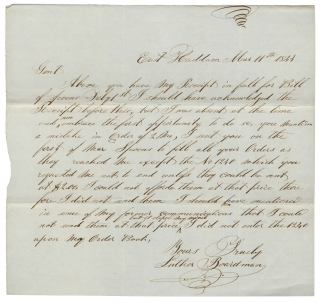 1844 Autograph Letter Signed from Luther Boardman, Successful Connecticut Silversmith Founder. Luther Boardman.