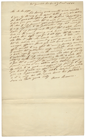 1840 Autograph Letter Signed by East Groveland, New York preacher Oren Brown. Oren Brown