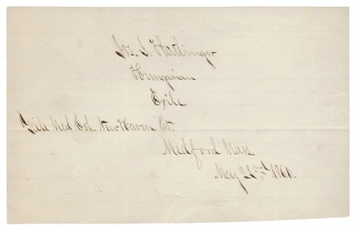 1860 Autograph Souvenir of Hungarian Exile, Yale Graduate, Directing African-American Troops in the Civil War. Joseph J. Hatlinger.