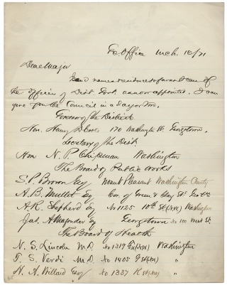 1871 Autograph Letter Signed by Norton P. Chipman, Secretary of Washington D.C. and soon-to-be...