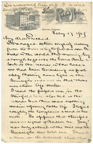 1905 Autograph Letter Signed from Tucson, Arizona Territory discussing Law, Mining, and the Gunsight Company. E. P. Hamersly.