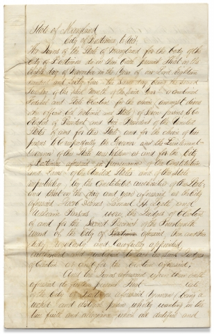 [1864–1865 Baltimore, Maryland Civil War Manuscript 11-Page Draft Document concerning the U.S. Presidential Election of 1864 and a Disloyal, Confederate Sympathizer in Maryland].