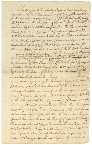 "18th Century Legal Memorandum concerning a Disputed ""Indian Country"" Land Grant in Colonial Pennsylvania. Dr. Peter Sonmans, Joseph Jacobs, John Scull, Mr. Galloway."