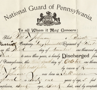 "[1899 Black Baltimore Printer's Military Discharge from a Philadelphia ""Colored"" Militia Unit]. Will T. Johnson; c.1868–?"