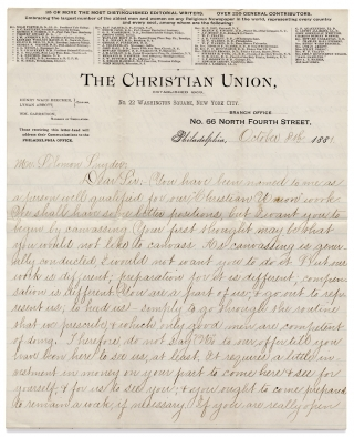 [1881 ALS Recruiting a Canvassing Agent for The Christian Union, Edited by Henry Ward Beecher and Lyman Abbott]. Wm. Garretson, Henry Ward Beecher and Lyman Abbott, Solomon Snyder.