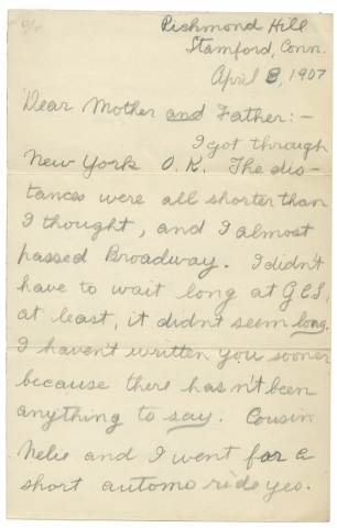 "Humorous 1907 ALS from a Boy (i.e., ""Canis Aureus"" a.k.a. ""The Kid"") to His Parents. ""The KID—Canis Aureus""."