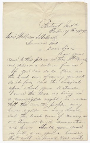 1878 ALS to William S. Holman, Indiana Democratic Politician and Congressman, Inviting Him to...