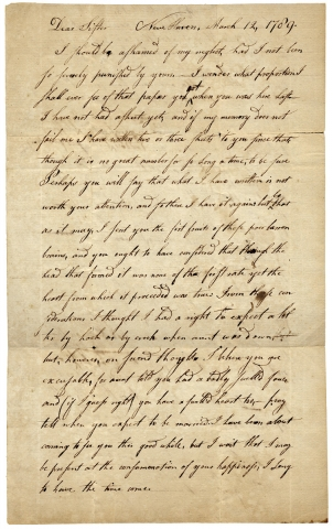 Affecting 1789 Autograph Letter Signed by Isaac Silliman of New Haven, Connecticut to His Sister....