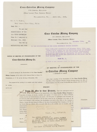 Cinco Estrellas Mining Company; Small Archive of Investors' Circulars etc., 1912–1913. Cinco...
