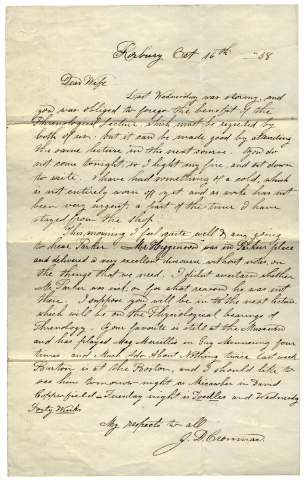 1858 Autograph Letter Signed discussing Phrenology, Theodore Parker, Thomas Wentworth Higginson....