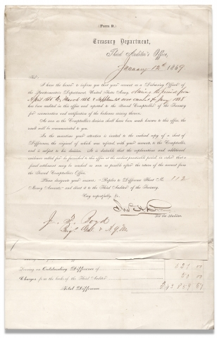 Statement of Differences arising on settlement of the accounts of Joseph Fulton Boyd Brig. Genl....