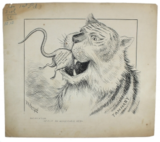 Original 1897 Tammany Tiger Political Cartoon by F.K. Houston. F K. Houston.