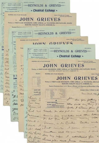 C.1901 Six ALsS by New York and Baltimore Theatrical Producer John Grieves. John Grieves, Joseph F. Smith, Reynolds, Grieves.