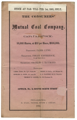 The Consumers' Mutual Coal Company. Capital Stock: 50,000 shares, at $10 per Share, $500,000. President, James Lynd. Treasurer, Josiah Kisterbock, No. 1231 Market Street [...]. Office, No. 5 1/2 South Sixth Street. Consumers' Mutual Coal Company, President James Lynd.