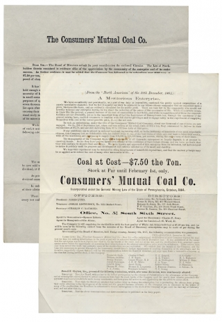 The Consumers' Mutual Coal Company. Capital Stock: 50,000 shares, at $10 per Share, $500,000. President, James Lynd. Treasurer, Josiah Kisterbock, No. 1231 Market Street [...]. Office, No. 5 1/2 South Sixth Street.