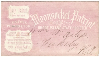 [Rhode Island Printing] Woonsocket Patriot and Rhode Island State Register [Advertorial Envelope]. S. S. Foss Woonsocket Patriot, Proprietor.