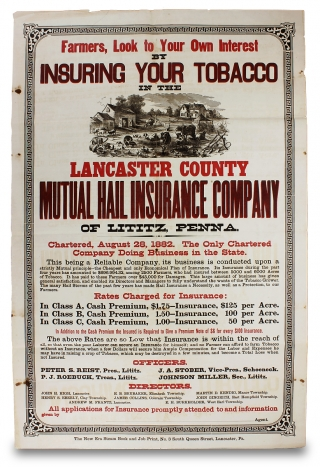 Farmers, Look to Your Own Interest by Insuring Your Tobacco in the Lancaster County Mutual Hail Insurance Company… [caption title]