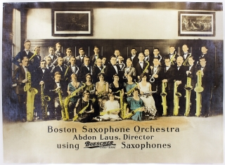 Boston Saxophone Orchestra. Abdon Laus, Director using Buescher True Tone Saxophones.