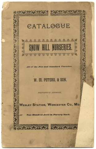 Catalogue and Price List of the Snow Hill Nurseries Near Snow Hill, Md. [...] Worcester Co., Md. W. M. Peters & Sons Snow Hill Nurseries.