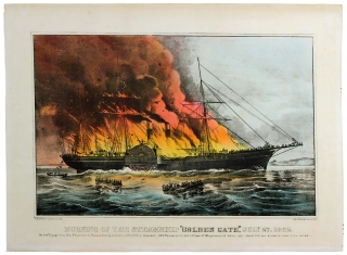 """Burning of the Steamship """"Golden Gate"""" July 27, 1862. On her Voyage from San Francisco having on board 1,400,000 in treasure, 242 Passengers and a Crew of 95 persons of whom only about 100 are known to have been saved."""