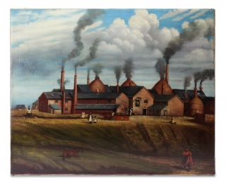 Folk Art Painting of Bottle Kilns and Pottery Factory]. Unkwn