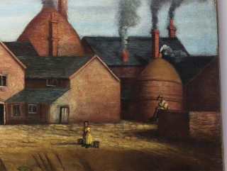 [Folk Art Painting of Bottle Kilns and Pottery Factory].