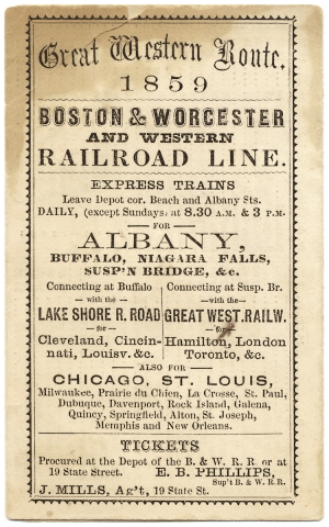 Great Western Route. 1859. Boston & Worcester & Western Rail Road Line.