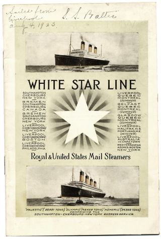 "White Star Line:] List of Second Class Passengers. R.M.S. ""Baltic"" Twin Screw – 23,884..."