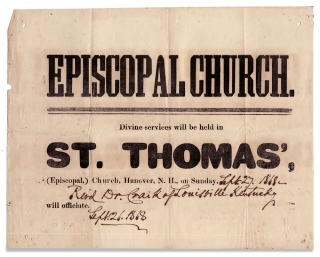 Episcopal Church. Divine services will be held in St. Thomas', (Episcopal,) Church, Hanover N.H., on Sunday, [in manuscript:] Sept. 27, 1868—Rev'd Dr. Craik of Louisville Kentucky will officiate. Sept. 26, 1868.
