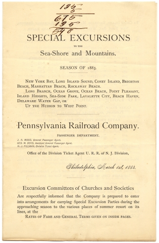 Special Excursions to the Sea-Shore and Mountains. Season of 1883. P R. R
