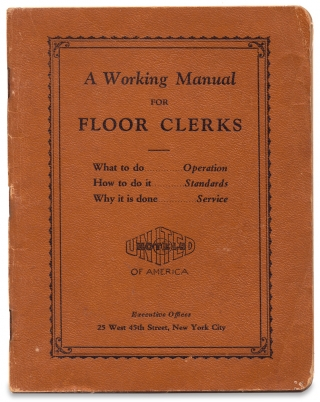 [Women at Work:] A Working Manual for Floor Clerks. United Hotels of America.