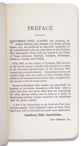 [New Orleans] 1925 Standard Specifications for Grades of Southern Pine Lumber.