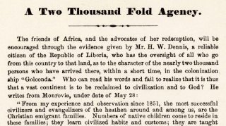 A Two Thousand Fold Agency. [Liberia, Africa Colonization Schemes]