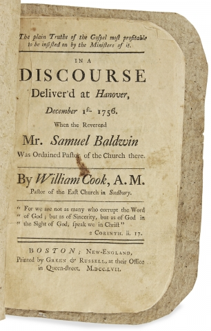 The plain Truths of the Gospel ... A Discourse Deliver'd at Hanover, December 1st. 1756. When the Reverend Mr. Samuel Baldwin was Ordained Pastor of the Church there.