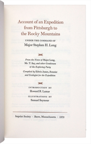 Account of an Expedition from Pittsburgh to the Rocky Mountains under the Command of Major Stephen H. Long.