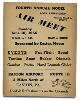 Fourth Annual Model Air Meet A.M.A. Sanctioned ... Sunday June 10, 1956 ... Easton, PA.