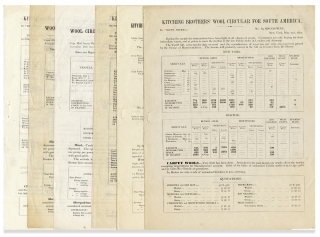 Six New York 1872 Wool Brokers' Circulars issued by Kitching Brothers; Statistical Data for...