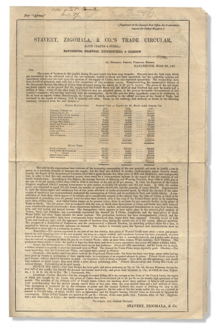 Stavert, Zigomala, & Co.'s Trade Circular .... [1857 Textile Trade Report with Prices; with an...