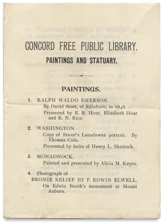 [Thoreau & the Transcendentalists:] Concord Free Public Library. Paintings and Statuary. Paintings. Henry David Thoreau; Ralph Waldo Emerson; Louisa May Alcott; Nathaniel Hawthorne; A. Bronson Alcott.