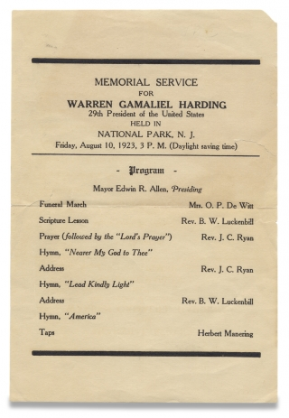 President Harding Mourned in New Jersey:] Memorial Service for Warren Gamaliel Harding ... 1923...