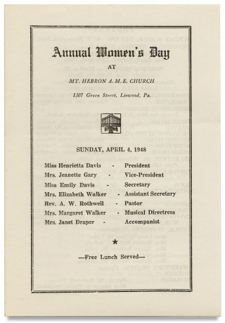 Annual Women's Day at Mt. Hebron A.M.E. Church ... Linwood, Pa., Sunday April 4, 1948.