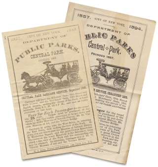 City of New York Department of Public Parks. Central Park. Central Park Carriage Service, Organized 1869. [two circulars dated 1883 and 1894]