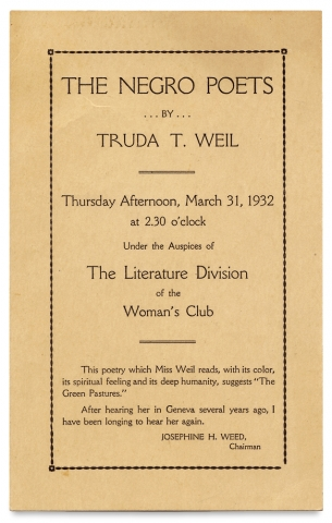 The Negro Poets by Truda Weil. Thursday Afternoon ... 1932 ... The Literature Division of the...