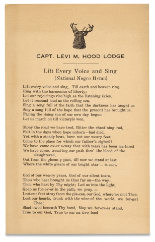 Capt. Levi M. Hood Lodge. Lift Every Voice and Sing (National Negro Hymn). James Weldon Johnson,...