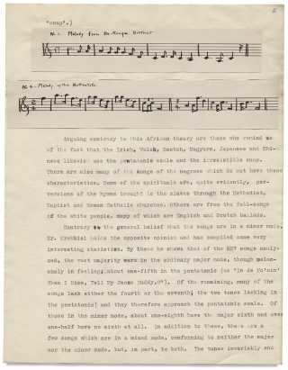 """The Folk Songs of Our Southern Negro."" [College Term Paper]. Mary Louise Fryberger"